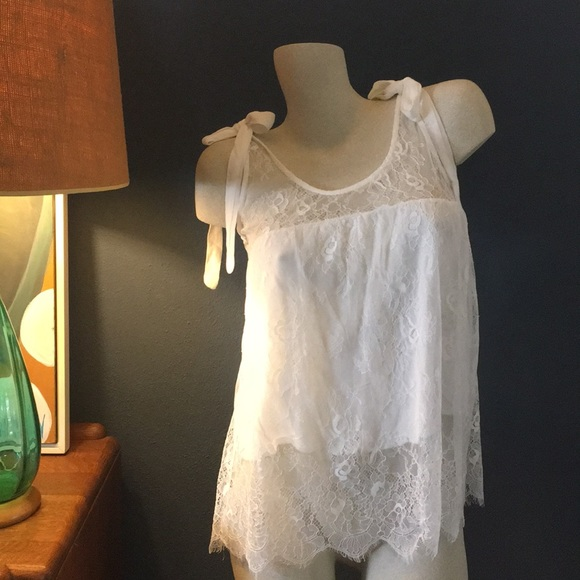 POL Tops - NWT Lace Bow Tank White